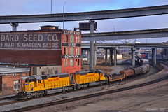 "Westbound Transfer in Kansas City, MO (""Righteous"" Grant G.) Tags: up union pacific railroad railway locomotive train trains west westbound transfer freight kansas city missouri power emd"