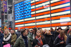 Watching President Trump take the oath of office in Times Square NYC (AndrewDallos) Tags: nyc new york city manhattan times square president donald trump inauguration day