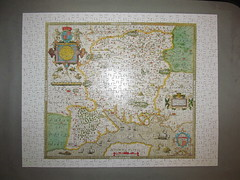 Christopher Saxton's Map of Hampshire (pefkosmad) Tags: optimago jigsaw puzzle london hampshire christophersaxton map wooden handcut complete used quality hobby leisure pastime