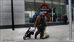 `1889 (roll the dice) Tags: london westminster victoria sw1 roundel tube underground passenger exit entrance old new tramp homeless smelly dirty sad mad people natural fashion shops shopping tfl streetphotography portrait rough stranger candid urban england unaware unknown tourism sight canon londonist glass trolley windows man hungry bottle wisdom water