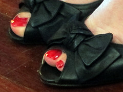 Touches of Red (graeme37) Tags: red toenails shoebows birthdayparty