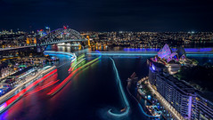 Vivid Sydney 2015 from Circular Quay (alexkess) Tags: bridge light house night opera long exposure harbour sydney trails vivid ferries 2015 500px