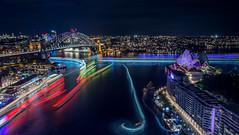 Vivid Sydney 2015 from Circular Quay (alexkess) Tags: bridge light house night opera long exposure harbour sydney trails vivid ferries 2015 500px