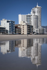 Strand Reflected (hassner) Tags: sea reflection beach sunshine weather strand buildings reflections southafrica coast sand apartments reflect cloudless westerncape