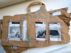 Stitched Stories - Primark bag ripped - set 1/2 (MizzieMorawez) Tags: collage set bag paper faces embroidery mixedmedia ripped montage storyboard stitched limitededition wallhanging originaldesign momentsoflife