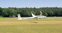 9888 Das Segelflugzeug D-9150 landet auf dem Segelflugplatz Kyritz; der Doppelsitzer ist ein Hochleistungsstreckenflugzeug. (stadt + land) Tags: flughafen luftaufnahme luftbilder segelflugzeug segelflug verkehrslandeplatz kyritz flugsport doppelsitzer heinrichsfelde hochleistungsstreckenflugzeug