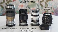 LTM / M39 short tele size comparison (kuuan) Tags: tele sizecomparison canonltmf35100mm komuraf35105mm shorttelelenses cvheliarf2575mm