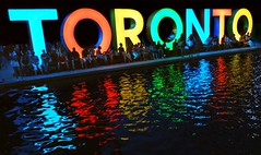 Colourful 3D City Of Toronto Sign .... Nathan Phillips Square / Toronto City Hall .... Toronto, Ontario, Canada (Greg's Southern Ontario (catching Up Slowly)) Tags: nightphotography toronto color colour reflections nightime torontocityhall nathanphillipssquare torontoontario reflectivewater cityoftorontosign colorfultorontosign 3dtorontosign colourfultorontosign illuminatedtorontosign