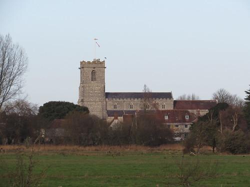 Arne: View of Wareham over the causeway from Stoborough (Dorset)