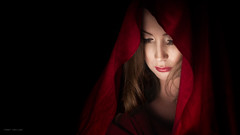 Mary Magdalene redux (Tommy Høyland) Tags: portrait face expression scarf beauty emotion pose indoor low key beautiful sad love woman veil light model feeling red studio hair lowkey