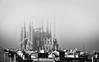 Construction (rgcxyz35) Tags: rooftops cathedral spain blackandwhite barcelona church gaudi architecture gothic city fog sagradafamilia antonigaudi artnouveau construction wow