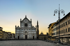 Piazza di Santa Croce (JH Images.co.uk) Tags: florence italy santa croce morning blue hour church lamp piazza hdr dri firenze sky