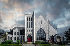 The Presbyterian Church of Paris, Illinois (Jims_photos) Tags: outdoor outside parisillinois thepresbyterianchurchofparisillinois adobelightroom adobephotoshop shadows sunnyday daytime downtown jimallen jimsphotos lightroom jimsphotoswimberleytexas cloudy clouds nopeople architecture