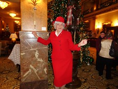 Enjoying Being Observed (Laurette Victoria) Tags: lady woman suit red hat milwaukee laurette pfisterhotel