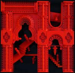 Red Dimension 01 (Lårs Kumpfert) Tags: lego art brickart red dimension escher architecture design oriental interstellar
