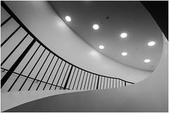 Dots, lines, and curves (uneitzel) Tags: architecture architektur bw bannister curve dot elbphilharmonie elphi geländer hamburg kurve lamp lampe lines linien mzuiko918mm monochrome olympusem5 punkt schwarzweiss stairway treppenhaus
