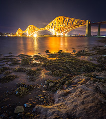 Forth Road Bridge - Rosyth. (grahamwilliamson1985) Tags: scotland forth road bridge forthroadbridge rosyth longexposure light metalbridge travel nighttime stars lighttrail seaweed rocks seaside shells seashells