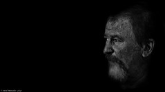 IF. (Neil. Moralee) Tags: if face close portrait mature man dark sinister blackbackground black white blackandwhite shadow spooky grandfather dad neil moralee nikon d7100 candid street funchal madeira beard moustache bw profile liverspot agespot aged
