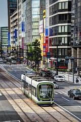 Tram in Hiroshima - Rijo Dori (David Pirmann) Tags: japan trolley tram hiroshima transit streetcar hiroden