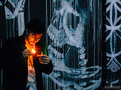 """Just To Watch The City Burn"" (Kindallas) Tags: street brazil art night fire graffiti do smoking batman paulo são beco"