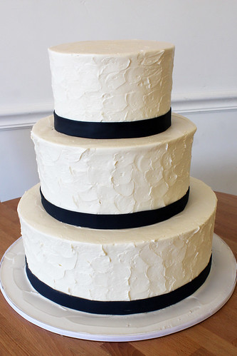 Rustic Textured Buttercream Wedding Cake with Navy Ribbon Trim