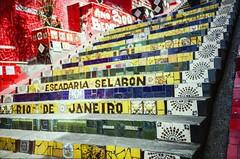 Rio de Janeiro (hiphopmilk) Tags: street brazil color film rio stairs analog america 35mm tile ceramic de lomo lca lomography colorful fuji janeiro south steps stairway staircase analogue lapa escadaria selaron selarn 135film jaredyeh hiphopmilk mossics