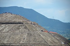 Pyramid Symmetry (Pedestrian Photographer) Tags: city sky people sun mountain stairs mexico pyramid teotihuacan steps july ciudad line climbing friday parallel range ribbet 2015