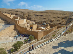 Mar Saba Greek Orthodox monastery in Bethlehem Governorate of Palestine, Israel (Lena and Igor) Tags: travel tourism asia middleeast israel westbank greek orthodox monastery desert rocks mountains pointandshoot panasonic dmc zs7 people pilgrims stairs steps