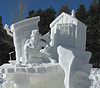 Ice Fishing (Colorado Sands) Tags: sculpture snow icefishing usa breckenridge colorado sandraleidholdt fishingshacks cold art carving snowman