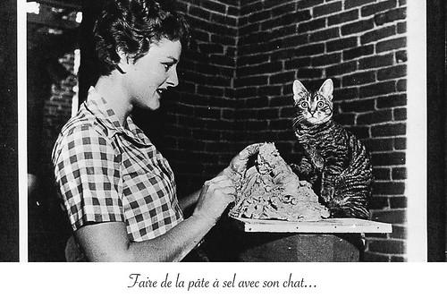 11-Carte postale // 10x15cm // Pâte à sel avec son chat