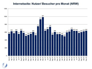 Internetseite: Nutzer/ Besucher pro Monat (NRW)