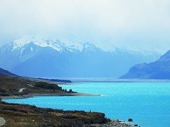 7131e2x  Southern Alps (jjjj56cp) Tags: lake lakedunstan nz newzealand otago southernalps southernhemisphere snowcappedmountains spring october blue aqua glacierfedwaters brilliant shoreline windingroad p900 jennypansing mountains snowcapped southisland
