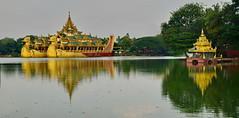 Myanmar: Kandawgyi Lake Karaweik floating Palace (gerard eder) Tags: world travel reise viajes asia southeastasia myanmar yagon kanddawgyi lake karaweik floating palace karaweikfloatingpalace