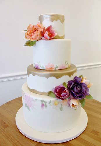 Metallic Gold Painted Florals Wedding Cake