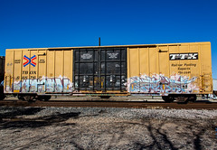 (o texano) Tags: houston texas graffiti trains freights bench benching destn optimist