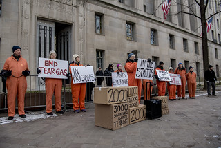 Sherill Hogan Reads the Story of a Prisoner During an Anti-Tear-Gas Demonstration Outside the U.S. Department of Justice