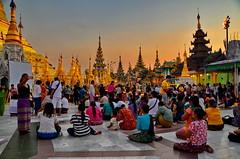Praying at Shwedagon Pagoda, Yangon (gerard eder) Tags: world travel reise viajes asia southeastasia myanmar yangon shwedagonpagoda praying sunset pagoda temple burma birmania rangoon evening people