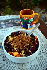 Light Breakfast (jjldickinson) Tags: food cooking cup fruit breakfast cherry newspaper coffeecup cinnamon peach almond bowl longbeach bauhaus nut wrigley granola losangelestimes almondmilk nikond3300 promaster52mmdigitalhdprotectionfilter nikon1855mmf3556gvriiafsdxnikkor 102d3300