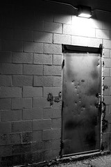 Knock Twice (O.S. Fisher) Tags: door blackandwhite brick night canon photography utah photo gang holes photograph 5d bullet 50mmf18 markiii shaunfisher canon5dmarkiii osfisher olivershaunfisher