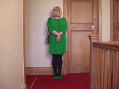 Miss Barbie in above the knee green dress (sissybarbie1066) Tags: above knee green dress