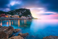 A Midsummer Night's Dream.. (Claudio Russa Photography) Tags: longexposure morning travel blue light sea summer sky italy sun seascape love beach water night clouds sunrise landscape coast dock sand nikon rocks italia little liguria dream magenta velvet stopper varigotti d700 bestcapturesaoi elitegalleryaoi