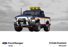 Ford Ranger X Cab Pickup (1996 - FNA Custom Offroad) (lego911) Tags: auto usa ford car america truck team model ranger lego stuck offroad render 1996 4wd utility pickup ute custom challenge 92 1990s 90s cad lugnuts v6 povray moc ldd p150 miniland lego911 stuckinthe90s