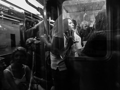 IMG_4716 (john fullard) Tags: city nyc urban newyork reflection june train underground subway mono carriage metro candid iphone 2015 phoneshots iphone6