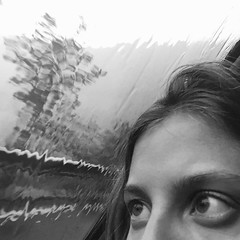 Rain behind eyes (Hic et Nunc Photography) Tags: glass girl rain photography eyes wb occhi pioggia biancoenero whiteandblack iphone6