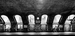 Not Too Close (Douguerreotype) Tags: bricks monochrome underground bench city bw uk metro arch british family mono blackandwhite architecture candid subway britain london gb england tunnel people tube urban
