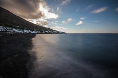 Stromboli 16 (gsamie) Tags: 600d aeolianislands canon guillaumesamie isoleeolie italy rebelt3i sicilia sicily stromboli vulcano beach clouds gsamie lava longexposure sea strombolicchio volcano wideangle