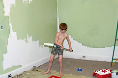 painting4 (babyfella2007) Tags: jason taylor painting house carson grant green room roller brush ladder child young boy helping beard face winnsboro sc south carolina southern children work working color