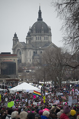 Minnesota women's march and St. Paul's cathedral (Fibonacci Blue) Tags: stpaul protest march woman women demonstration event dissent feminism outcry feminist activism outrage twincities activist minnesota trump republican people crowd cathedral church gop liberal building