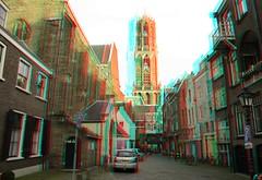 DOM Utrecht 3D (wim hoppenbrouwers) Tags: dom utrecht 3d anaglyph stereo redcyan domtoren tower church town street ngc