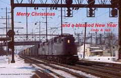 Merry Christmas to my Flickr group... (jackdk) Tags: train railroad railway conrail cr gg1 electriclocomotive nec penncentral prr pennsy positionlight possitionlights signal signalbridge signals monmouth monmouthjunction junction freighttrain christmas merrychristmas
